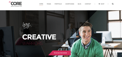 Homepage of The Core theme