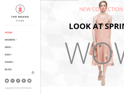 Homepage of The brand