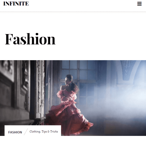 Infinite – Photography WordPress theme