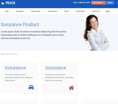 Insurance page of Peace