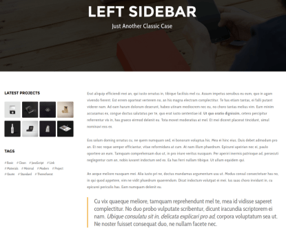Left Sidebar page Blade