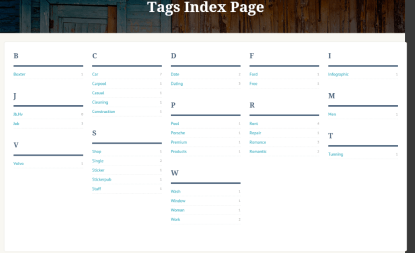 Listing Builder - Index page