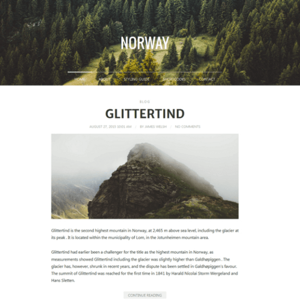 Norway – Responsive and Retina ready WordPress theme for Bloggers and Photographers.