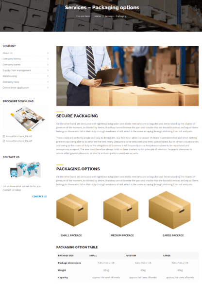 Packaging Options Page - Trucking