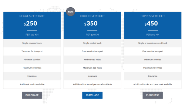 Pricing Page - Cargo