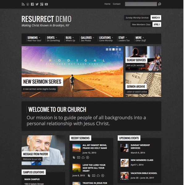 Resurrect – WordPress theme for creating church websites