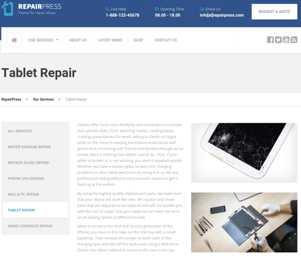 Service Page - RepairPress