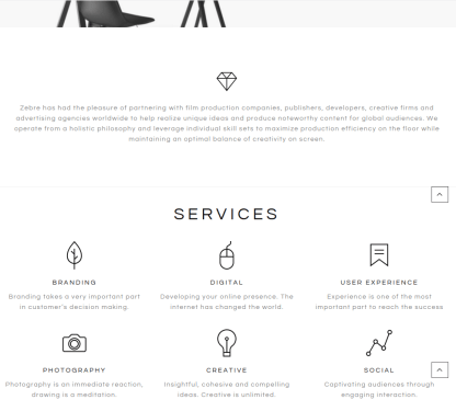 Services page of zebre