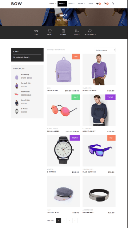 Shop page of BOW theme
