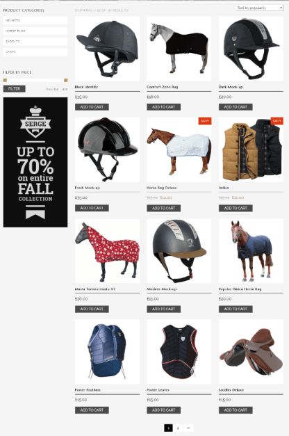 Shop page of Horse club theme