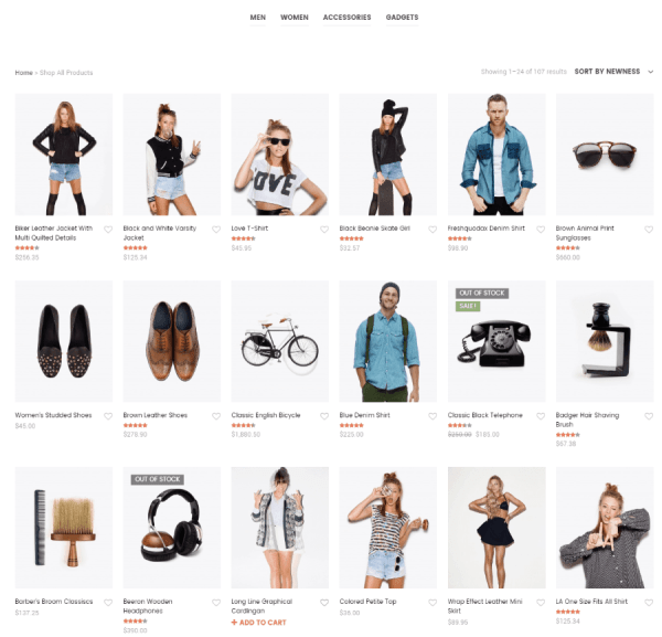 Shop page of Shopkeeper theme