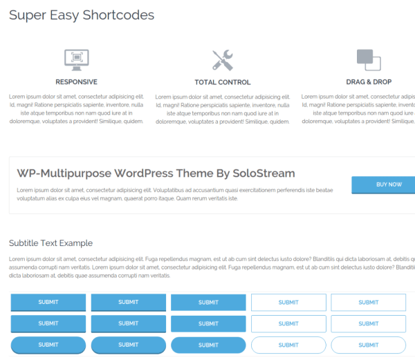 Shortcode Page WP-Multipurpose