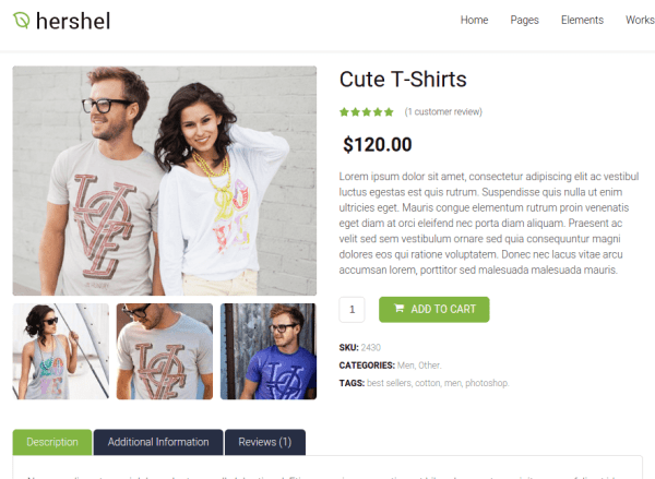Single product page of Hershel