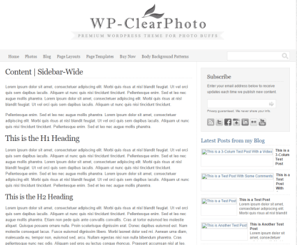 WP-clearphoto theme's page with right sidebar
