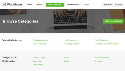 WorkScout Job Categories Page