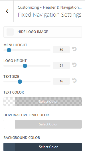 Extra - Customize Header and Navigation settings -Fixed navigation settings