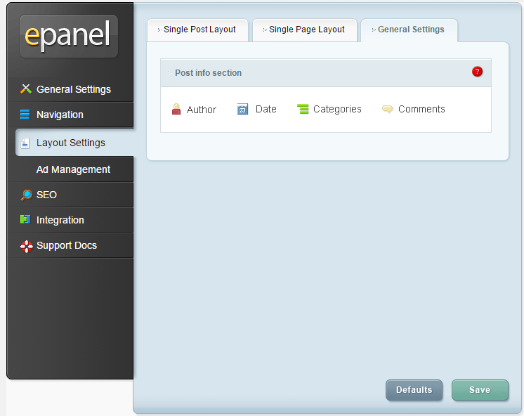 Fable - ePanel - Layout Settings - general
