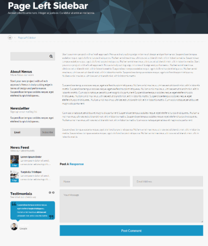 Nexus - page with left sidebar