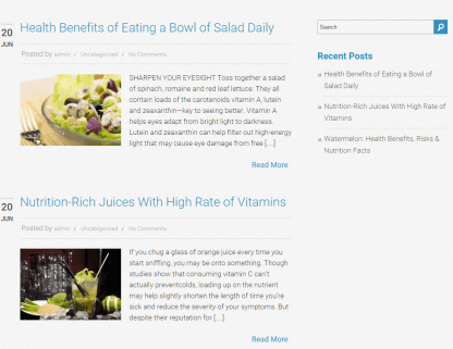 Nutrition - Blog page layout