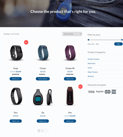 Shop with sidebar page of Stratus
