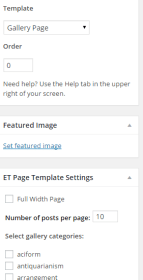 Gallery Page - Template Settings