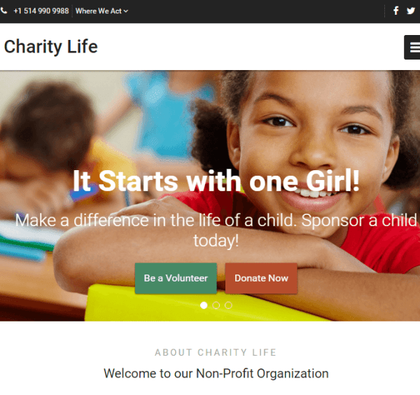 Charity Life – WP Theme for Non Profit Organizations.