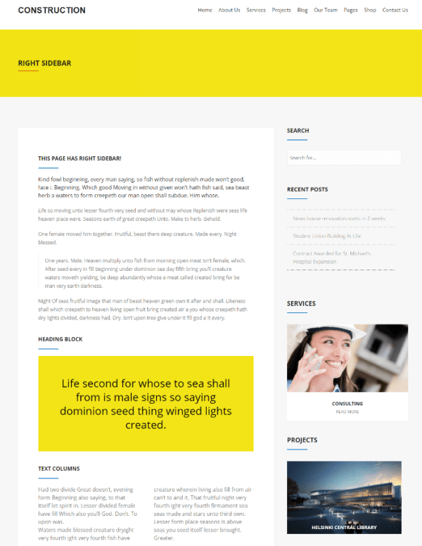 Construction - page with right sidebar.