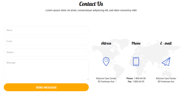 Contact Page of Kidzone
