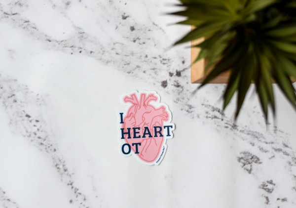 Pink heart with I Love Occupational Therapy written overlayed- Purpose Therapy Box