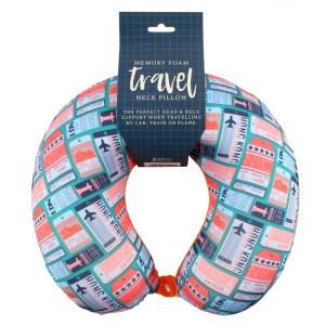 Luxury Ticket Print Memory Foam Travel Pillow