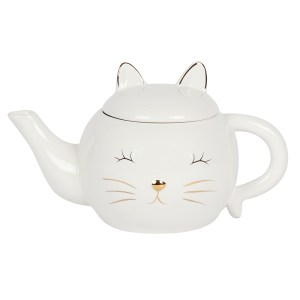 White Cat Face Teapot