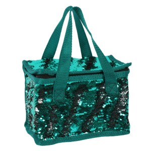Green and Silver Reversible Sequin Lunch Bag