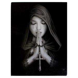 19x25cm Gothic Prayer Canvas Plaque by Anne Stokes