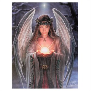 19x25cm Yule Angel Canvas Plaque by Anne Stokes