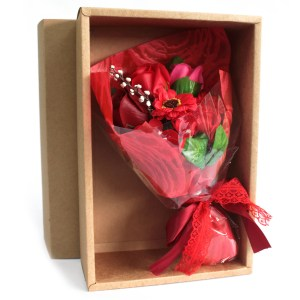 Boxed Hand Soap Flower Bouquet- Red