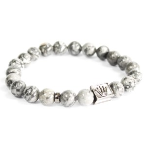 Crown Ingot / Grey Agate - Gemstone Bracelet