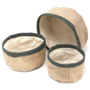 Set of 3 Natural Jute Baskets - Charcoal
