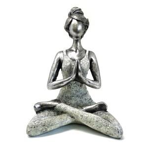 Yoga Lady Figure -  Silver & White 24cm