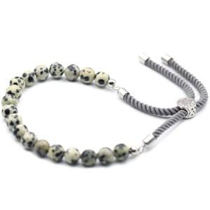 925 Silver Plated Gemstone Charcoal String Bracelet - Dalmation Jasper