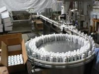 Our bottling production line for tree preservative, flame retardant and other bottled products