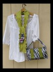 upcycled green scarf and purse set