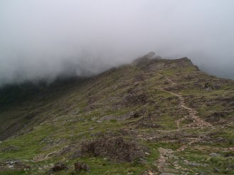 On route to Snowdon's summit. Looks like a pleasant path but it was tricky going.