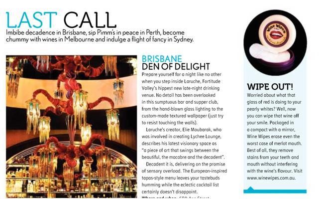 Wine Wipes Australia in Voyeur Magazine