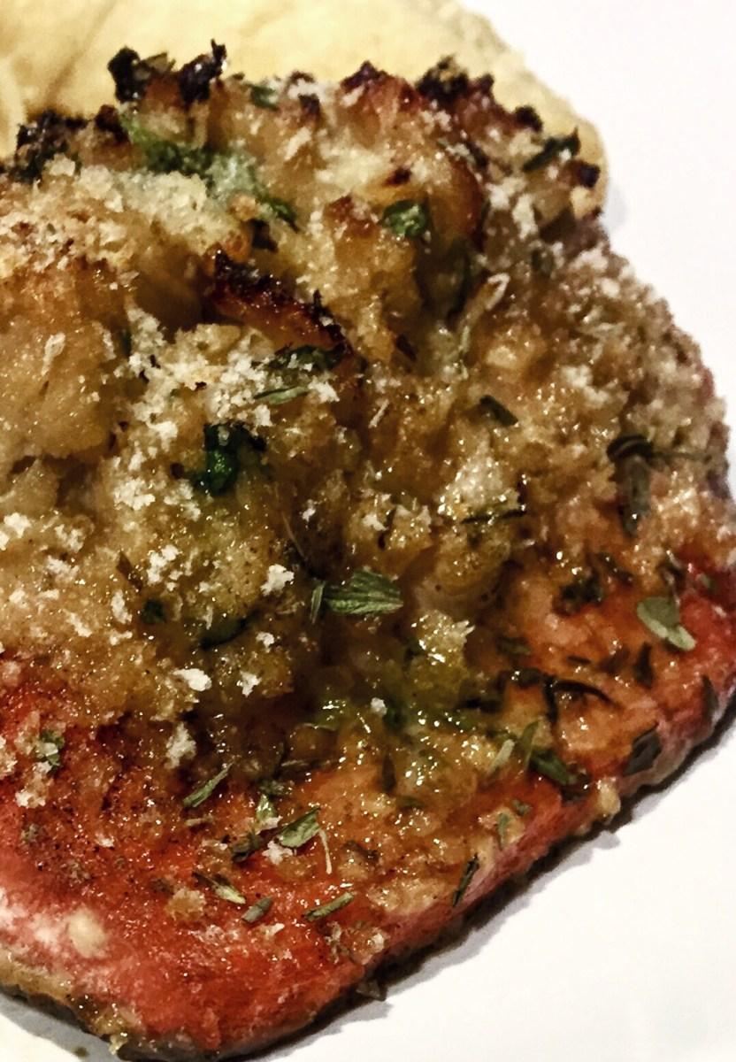 Garlic Brown Sugar Crab and Shrimp Stuffed Salmon