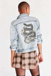 BDG Embroidered Denim Trucker Jacket
