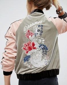 Embroidered Velvet Bomber