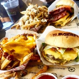 Classic BurgerFi, Bacon Cheeseburger, chili cheese fries, & parmesan & herb fries