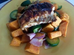 Honey Mustard Chicken with Sweet Potatoes & Veggies