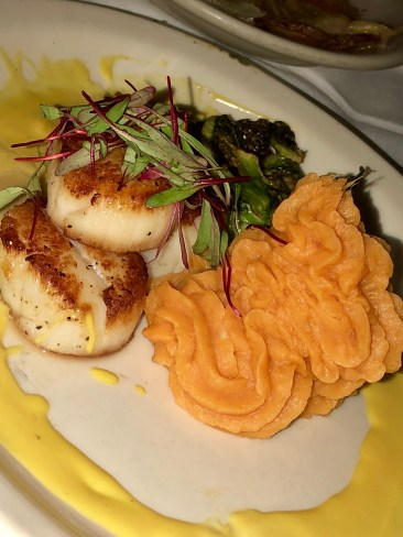 Scallops with sweet potatoes and brussel sprouts