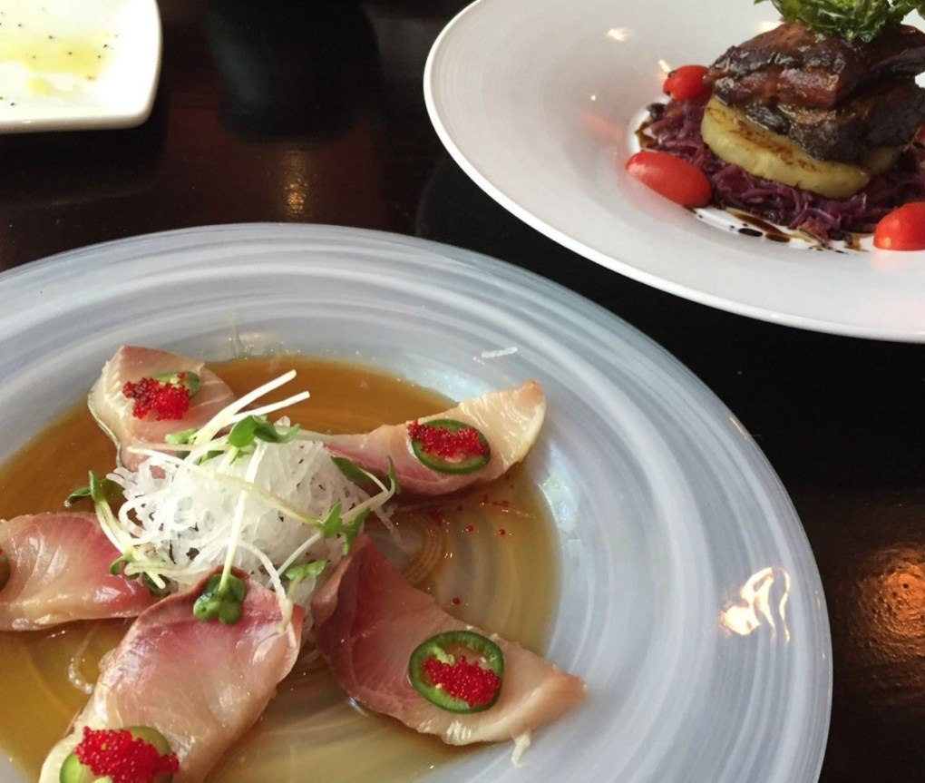 Yellowtail with Jalapeno and Braised Pork Belly